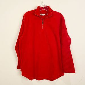 CHAUS Sport Red Fleece Pullover Large